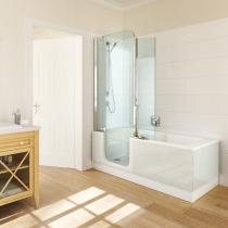 Verkauf von Twinline Badewanne mit Tür und weißer Außenverkleidung