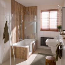 2-teiliger Badewannenaufsatz mit 1 festen Nebenteil und 1 beweglichen Element und Satinato-Streifen