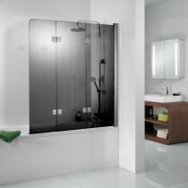 3-teiliger Badewannenaufsatz in Glasfarbe grau mit 180° schwenkbarem Wandprofil