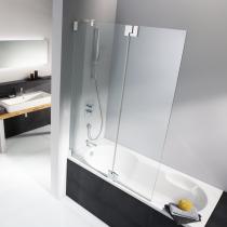 Einbau einer 2-teiligen Badewannenfaltwand mit 1 festen Nebenteil und 1 beweglichen Element