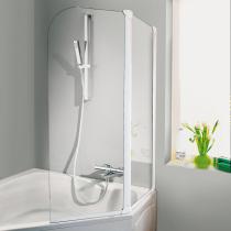 1-teiliger Badewannenaufsatz mit Spezialscharnieren, die Elemente sind um 360° drehbar