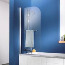 1-teiliger Badewannenspritzschutz inklusive integriertem Handtuchhalter