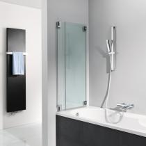 Rahmenloses Duschvergnügen: 2-teiliger Badewannenaufsatz in bis zu 120 cm Breite aus 8mm Sicherheitsglas