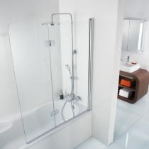 2-teiliger Badewannenspritzschutz aus Echtglas
