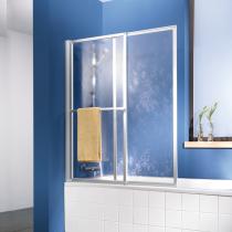 2-teiliger Badewannenaufsatz aus Kunstglas (von 70 bis 118 cm ausziehbar und beidseitig um 180° schwenkbar)